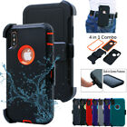 For iPhone X Holster Belt Clip Shockproof Case Cover w/Built in Screen Protector