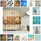 16 Kind Water Resistant Fabric Bathroom Shower Curtain Panel with 12 Hooks