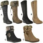 Womens Ladies Wedge Low Heel Winter Knee Boots Warm Faux Fur Fleece Size UK