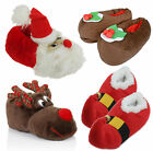 Mens Ladies Christmas Pudding Santa Elf Slip On Cushioned Slippers Mules Boots