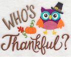 WHO'S THANKFUL Thanksgiving OWL Made To Order Embroidered Kitchen Towel Choices