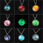 Women Full Moon Rising Moon Pendant Necklace Glow In The Dark Luminous Chain