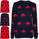 Women Ladies Christmas Crew Neck Jumper Pudding Pullover Sweater Chunky Knit Top