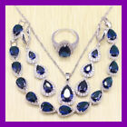 stunning Blue sapphire  925 Silver Necklace pendent Earrings Ring Bracelet set