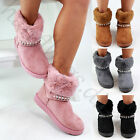 New Winter Style Flat Boots Faux Fur Lined Casual Warm Comfy Womens Shoes Sizes