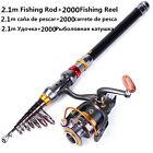 Spinning Fishing Rod Combo with Fishing Reel Wheel Travel Portable Telescopic