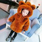 Kids Girls Faux Fur Hooded Thicken Coat Loose Jacket Long Parkas Overcoats Hot