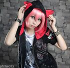 GLP Short Sleeved Cat Ear Hoody with Skulls Goth Punk Emo Black/Red 71075