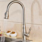 Brushed Nickel 360 Degree Swivel Hot Cold Kitchen Faucet Single Handle Hole Tap