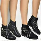 Womens Ladies Chelsea Flat Ankle Boots Pull On Winter Strappy Studded Shoes Size