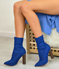 New Womens Ladies Denim Ankle Boots High Block Heels Fashion Shoes Size Uk 3-8