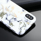For Apple iPhone X Hard Case Soft TPU Rubber Bumper Cover White Marble Pattern