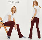 Topshop Skinny Rib Flared Jeggings Trousers in Burgundy Sizes 6 to 12