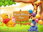 "EDIBLE RECTANGULAR 10X7.5"" WINNIE THE POOH  BIRTHDAY CAKE TOPPER"