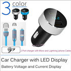 Car Charger 3.1A Amp Dual USB With Lightning Micro Cable Micro Cord LED Digital