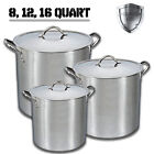 100% Stainless Steel Stock Pot 8 12 16 Quart Metal Lid Riveted Stay Cool Handles