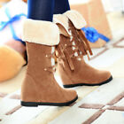 snow boots for ladies - Winter Warm Ladies Knee High Snow Boots Hidden Wedge Heels Lace Up Shoes