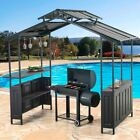Sunjoy 8 x 5 ft. Deluxe Hard Top Grill Gazebo with Servin...