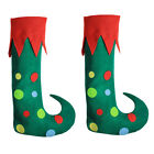 Funny Green Merry Christmas Elf Boots Shoes Xmas Costume Performance Stage