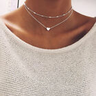 Women Peach Heart Multi- layer Clavicle Necklace Chain Choker Bib