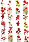 24 Mixed Poppy Flower Large Sticky White Paper Stickers Labels NEW
