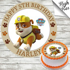 PAW PATROL - RUBBLE ROUND EDIBLE BIRTHDAY CAKE TOPPER DECORATION PERSONALISED