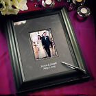 Black Etched Signature Board Framed Photo Wedding Guest Book Q16023