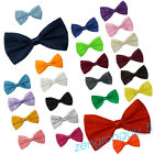 Satin Plain Mens Adjustable Bow Ties Pre-Tied Wedding Party Necktie Dickie Prom