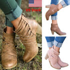 US Women's Ankle Boots Hollow Out Round Toes Boots Block High Heels Shoes Boots