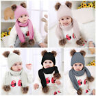 Kids Baby Boy Girl Winter Warm Double Fur Pom Bobble Knit Beanie Hat Scarves Set
