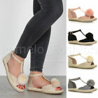 WOMENS LADIES FLAT POM POM T-BAR PEEP TOE SUMMER ESPADRILLES SANDALS SHOES SIZE