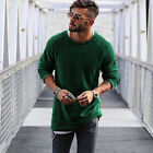 US Fashion Mens Slim-Fit V-Neck Long Sleeve Muscle Tee Mens T-shirt Casual Tops