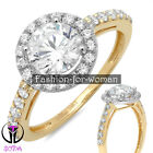 2.30Ct Round D - VVS1 DIAMOND 14K YELLOW GOLD Promise Halo Ring Engagement DIANE