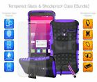 For Huawei Honor Holly 3 - Shockproof Hybrid KickStand Case, Glass & Mini Pen