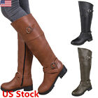 leather riding boots fashion -  Womens Leather Flats Knee High Riding Boots Buckle Strap Pull On Fashion Shoes