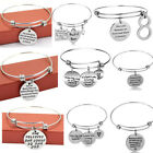 Inspirational Silver Bangle Charm Bracelet Pendants Jewelry Sister Christmas New