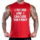 Men's Flexed And Cracked The Print Red T-Shirt Tank Top Gym Workout Fitness