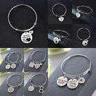 Stainless Steel Bracelet Bangle Jewelry Heart Infinity Moon Family Mom Dad Sis