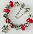 NEW 925 Silver Plated Charm Bracelet Red & Snowflake Crystal Charms- Christmas