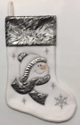 """Personalised Snowman Xmas Stocking Sack Silver 18"""" Deluxe Christmas Deluxe"""