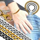 One Stainless Steel Chain Bracelet Curb Link flat thick solid gold silver black