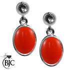 BJC® 9ct White Gold Natural Peach Coral Single Drop Dangling Studs Earrings