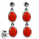 BJC® Sterling Silver Natural Peach Coral Double Drop Dangling Studs Earrings