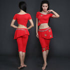 2017 New Sexy Belly Dance Costumes 2Pics Short Sleeve Top & Pants Attached Skirt