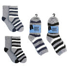BOYS GIRLS SNOW SOFT NON SLIP GRIP SLIPPER SOCKS NAVY BLACK STRIPE TWIN PACK NEW