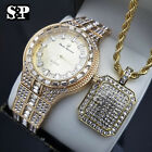 MEN ICED OUT HIP HOP GOLD PT CRYSTAL WATCH & FULL ICED NECKLACE COMBO GIFT SET  image