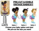 PRE-CUT Turquoise Teal Purple Vintage Baby EDIBLE Cake Topper Image Afro Puffs