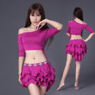 New Sexy 2017 Women Belly Dance Costumes 2pcs Off Shoulder Top &layer Skirt