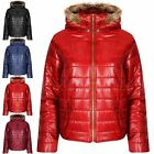 New Women Quilted Puffer Bubble Padded Ladies Hooded Zip Up Faux Fur Coat Jacket