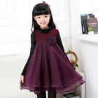 3-11Y  Autumn Girls vest dress Lace Girl Kids Sleeveless flower princess dress